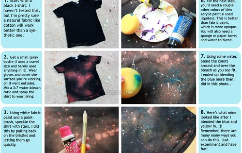 so cute and easy diy Galaxy shirt, Bleach and acrylic paint