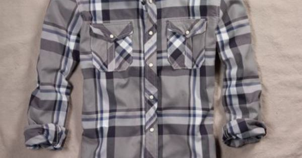 Nwt american eagle mens ae plaid western shirt gray xs for Abercrombie mural