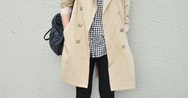 Trench coat, checkered shirt, black pants and ankle boots