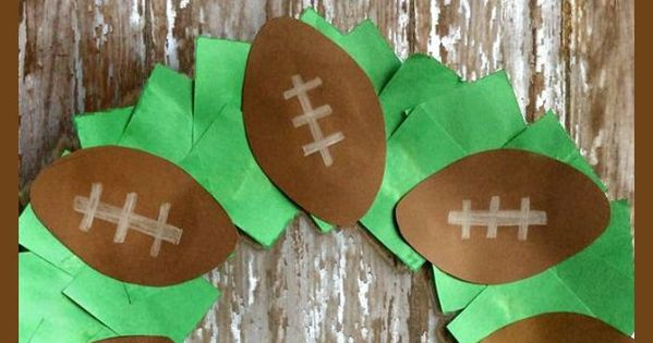 Easy paper football wreath for kids crafts for kids for Football crafts for preschoolers