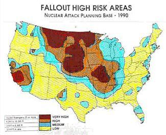 A Civil Defense map from 1990 showing likely fallout ...