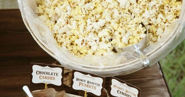 Popcorn Bar! Love this for a movie night, slumber party, girl's night,