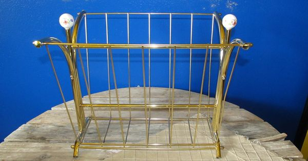 Vintage Tubular Brass Magazine Rack Holder Gold Polished Brass