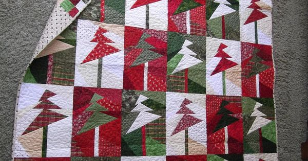 Christmas Quilt Trees Up Lights On Sandy Gervais It S