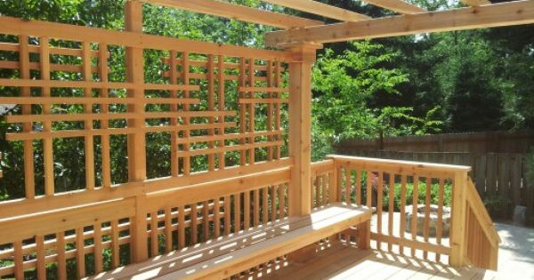 Cedar deck with bench, pergola, and privacy screen by Mac's Custom  Creations   My work   Pinterest   Decks, Mac and Cedar deck - Cedar Deck With Bench, Pergola, And Privacy Screen By Mac's Custom