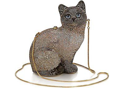 Silver Black ~Cat Shaped~Handmade Austrian Crystal Evening Cocktail Bag