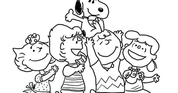 Charlie Brown and merry gang coloring pages for kids
