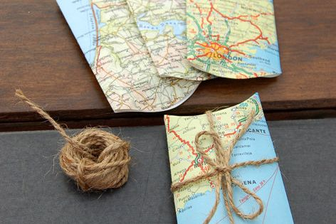 Good idea for recycling old maps - gift boxes