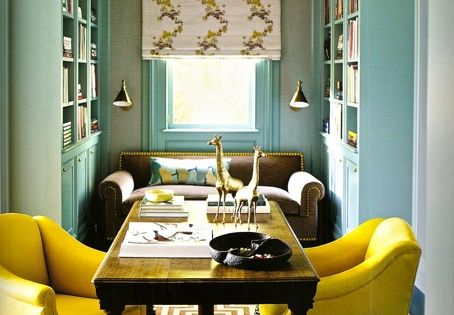 Pickering Hill: Greek key carpet, bright citrus chairs and pretty turquoise paint
