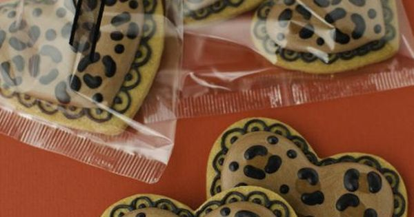 Heart-shaped leopard print cookies, perfect as wedding or bridal shower favors leopardwedding