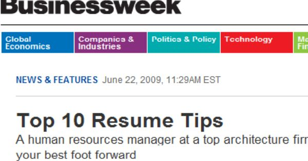 top 10 resume tips  bloomberg businessweek