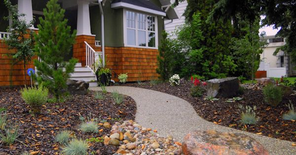 Beautiful low maintenance front yard bark rocks bushes for No maintenance front yard