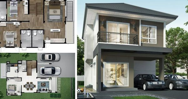 2 Story House 164 Sq M With 4 Bedrooms Story House Two Story House Design House
