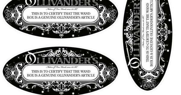 Ollivander Wand Label Pdf Harry Potter Pinterest