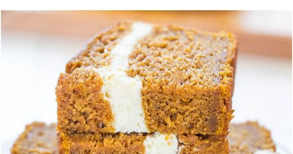 Cream Cheese-Filled Pumpkin Bread - Pumpkin bread that's like having cheesecake baked