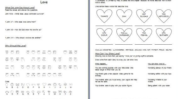 printable learn about love bible worksheet children 39 s ministry ideas pinterest love. Black Bedroom Furniture Sets. Home Design Ideas
