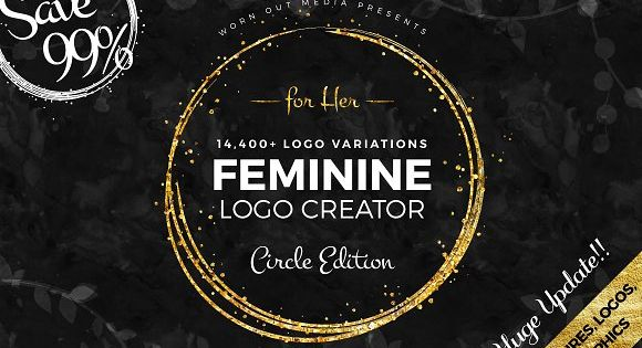 Feminine Logo Creator Circle Edition – modern, glittery and glamorous logos – inspired by women power