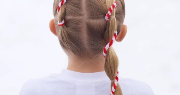 jehat hair — Festive candy cane style with elastics, so ...