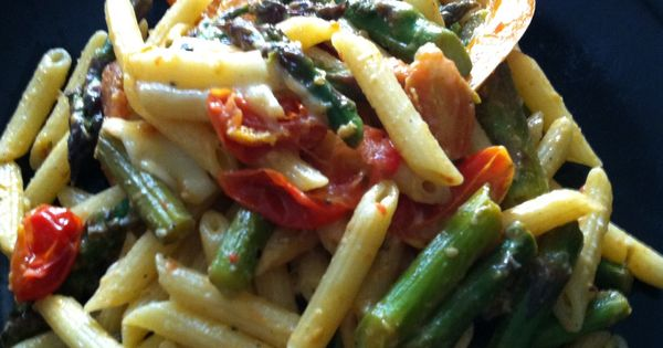 """Tomato and Asparagus """"Carbonara""""   From the kitchen of Becca ..."""