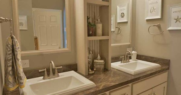 His And Her Vanity Bathroom Sinks Are A 39 Must Have 39 Center Shelf Storage Is Super Convenient