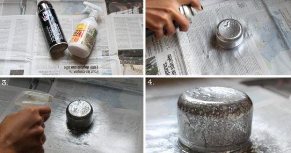 diy effet argent vieilli avec une bombe de peinture et du. Black Bedroom Furniture Sets. Home Design Ideas