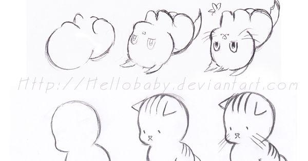 Tutoriel de dessin pour petits animaux cartoon art - Dessiner une chatte ...