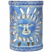 Sun Face Southwest Painted Clay Wall Sconce Clay Wall Wall