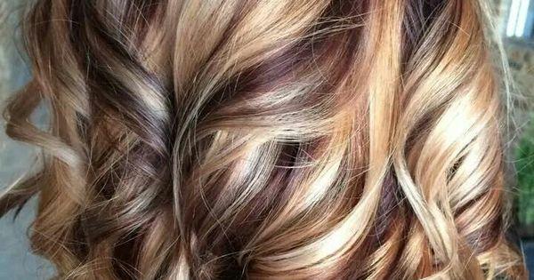 Autumn swirls - Cherry cola lowlights with blonde ...