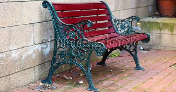Iron and wood garden bench painted green and red with for Painted benches outdoor