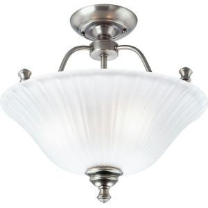 Progress Lighting Renovations Collection  Antique Nickel Flushmount Etched Glass