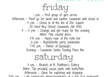 Bachelorette Party Itinerary