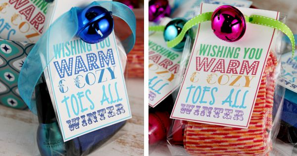 easy gift of socks, nail polish.  love the bell and the tag