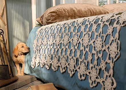 crocheted lace - pattern detail crochet coverlet Designed by Valerie Teppo