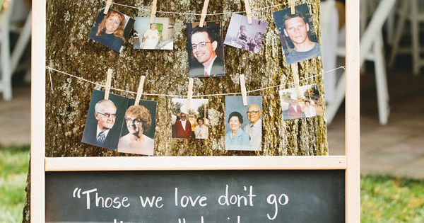 Honor deceased relatives and friends by setting up a photo display with
