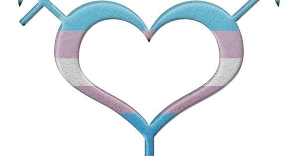 Transgender Pride Heart Shaped Gender Neutral Symbol In