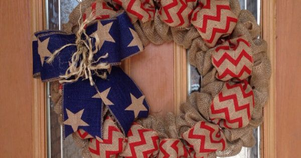 USA burlap wreath Merica