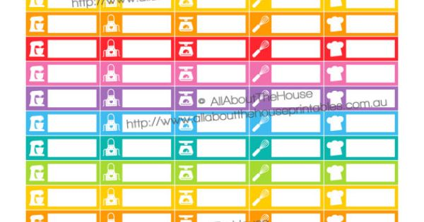 Organization Wide Calendar : Baking planner stickers printable calendar organization