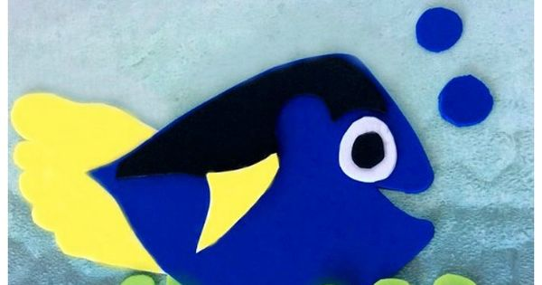 Finding dory foam craft with footprint fin crafts hand for Finding dory crafts for preschoolers