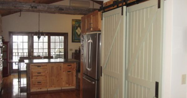 Home mon dec 11 bypass barn door hardware barn door for Pantry barn door hardware