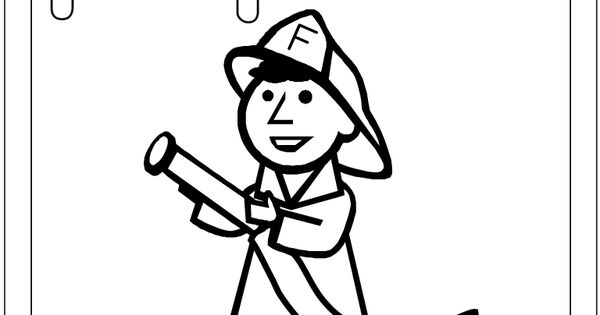 F Is For Firefighter Coloring Page