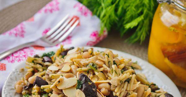 orzo pasta with preserved lemon, white beans & caramelized mushroom