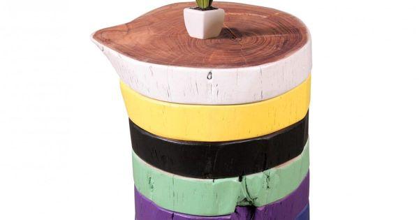 WOHNLING Beistelltisch Vollholz Akazie Holzscheiben Bunt Wohnzimmertisch Sitzhocker Retro Couchtisch Jetzt Bestellen Unter Moebelladendir