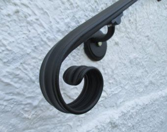 5 Ft Wrought Iron Hand Rail Wall Rail Stair Step Railing Wall Etsy Wrought Iron Handrail Iron Handrails Wall Railing