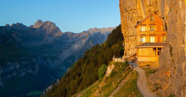 berggasthaus aescher is a 170 year old guest house built into a cliff of the swiss alps the inn. Black Bedroom Furniture Sets. Home Design Ideas