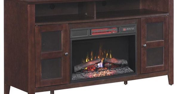 Media Cabinet With Built-In Electric Fireplace