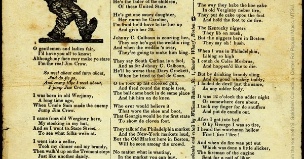 Jim Crow. Date:[1835-1877] Place Of Publication:Boston, MA