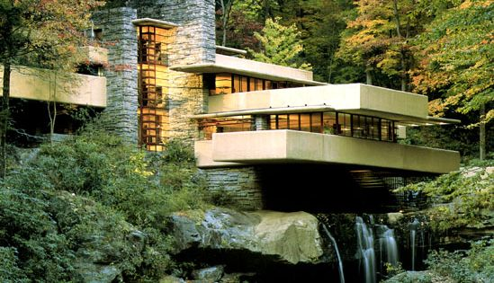 Fallingwater by Frank Lloyd Wright. Built from 1934 to 1937 at Mill