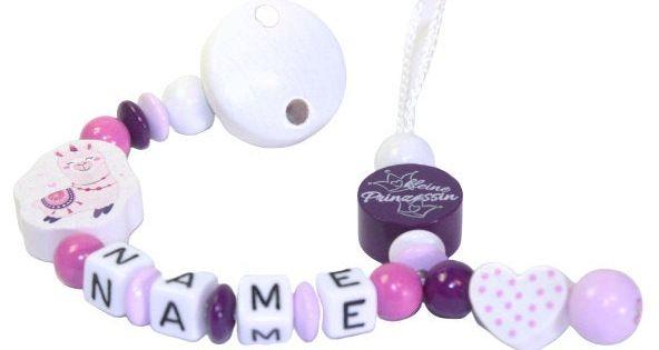 """Schnullerkette mit Namen Motiv  /""""Hello Kitty/"""" Baby Geburt rosa silber grau weiß"""