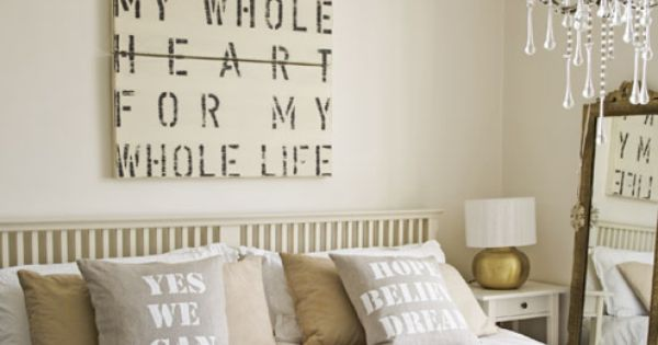 Master bedroom quote wall art. Love the chandelier, too!