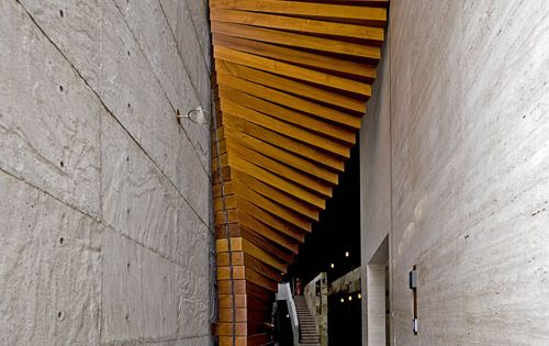 Curtain Door by Matharoo Associates // front door made from long wood